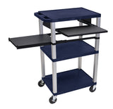 Luxor tuffy blue 3 shelf & black legs, cabinet & side pull-out shelf & electric