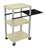 Luxor Tuffy Putty 3 Shelf W/ Nickel Legs & Black Side Pull-out Shelf & Electric