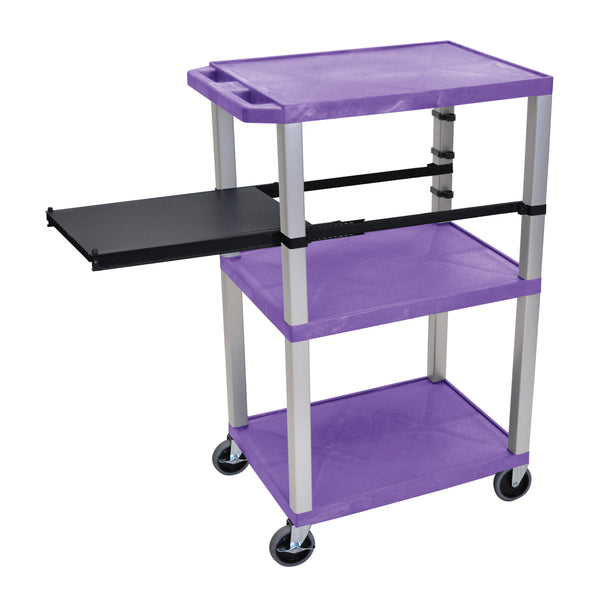 Luxor Tuffy Purple 3 Shelf W/ Nickel Legs & Black Side Pull-out Shelf & Electric