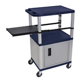 Luxor Tuffy Navy Blue 3 Shelf & Nickel Legs, Cabinet & Black Side Pull-out Shelf & Electric