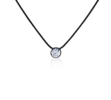 B.Tiff 1 ct Stainless Steel Solitaire Pendant Necklace Black Gold Silver