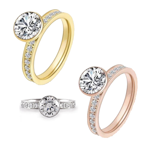 B.Tiff 2 Ct Eternity Classic Solitaire Pave Engagement Ring Stainless Steel Gold Rose Gold
