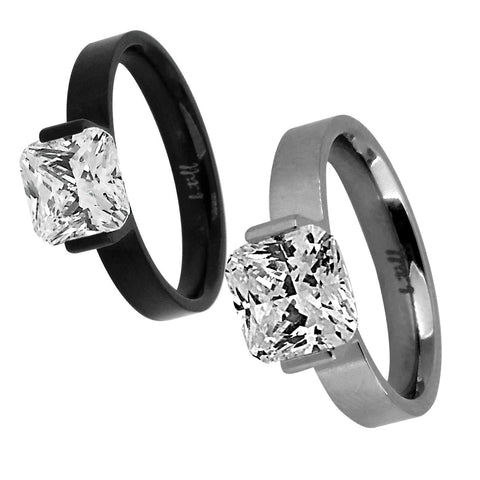"B.Tiff ""The Asscher"" 2 ct Cushion Cut Stainless Steel Engagement Ring Silver Black"