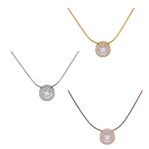 B.Tiff Aŭreolo 1ct Gold Plated Stainless Steel Halo Pendant Necklace