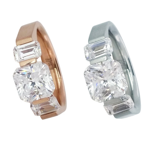 B.Tiff 2 ct Stainless Steel Cushion Cut with Baguettes Engagement Ring Natural Rose Gold