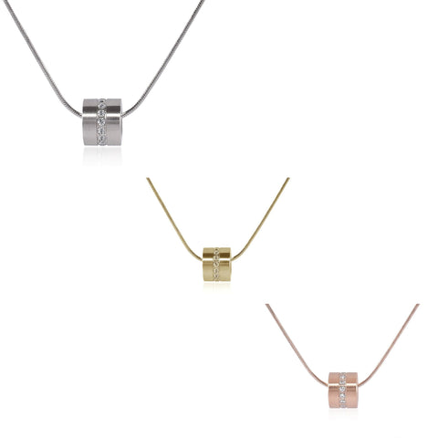 B.Tiff Barrel Stainless Steel Pendant Necklace