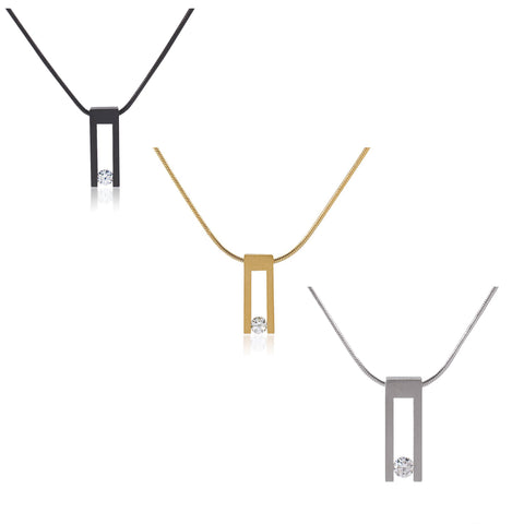 B.Tiff Hollow Bar Stainless Steel Pendant Silver, Gold or Black with Necklace