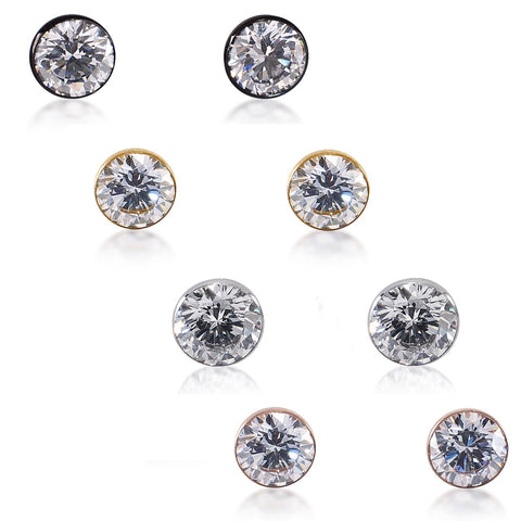 B.Tiff Stainless Steel 2 CT Stud Earrings Gold Black Silver Rose Gold