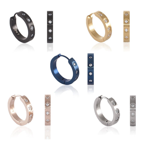 B.Tiff Pave 8-Stone Stainless Steel Hoop Earrings Black Blue Gold Silver Rose Gold