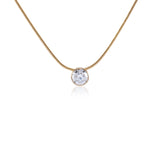 B.Tiff 2 ct Solitaire Stainless Steel Pendant Necklace Gold Silver Silver Rose Gold