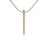 B.Tiff 19-Stone Stainless Steel Bar Pendant Necklace Black Silver Gold Rose Gold