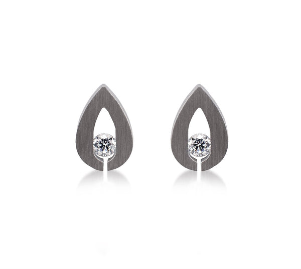 B.Tiff Drop Earrings, Stainless Steel Tension Set with 0.10ct Diamond Alternative