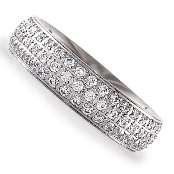 B.Tiff Three-Row Pave Stainless Steel Eternity Ring Silver Gold 4 - 10