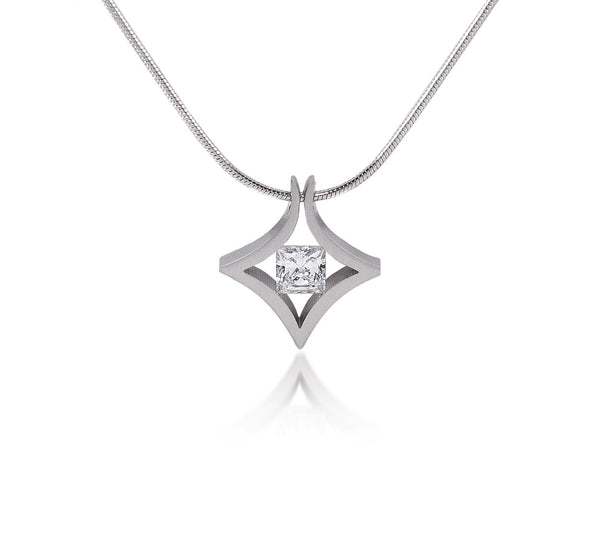B.Tiff Natal 1 ct Princess Cut Gold Plated Stainless Steel Pendant Necklace