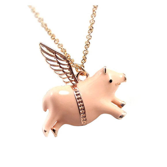 When Pigs Fly Wing Pendant Necklace - Nickel Free