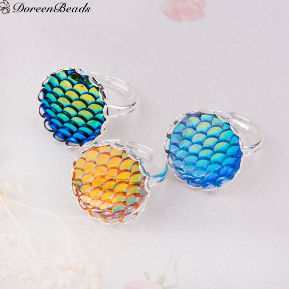 Handmade Adjustable Fish /Dragon Scale Rings