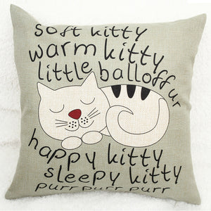 Vintage Happy Kitty Decorative Pillow