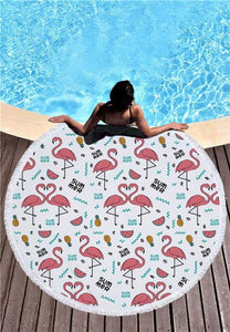 Flamingo Round Beach Towel With Tassels