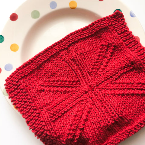 Union Jack Knit Dishcloth