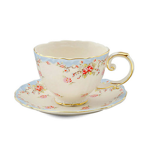 Blue Rose Teacup and Saucer