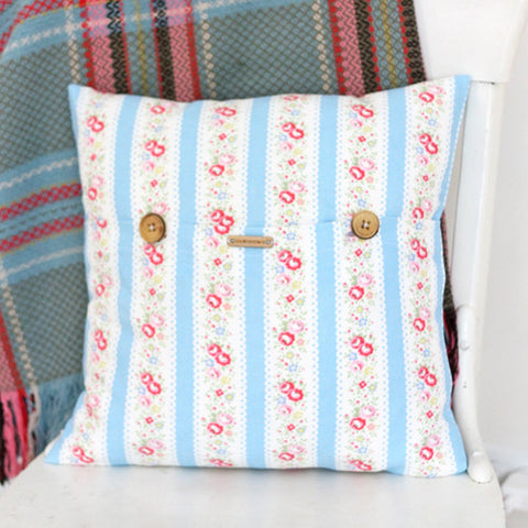 Floral Stripe Pillow Cover
