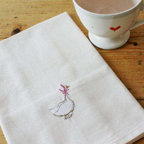 Goosey Embroidered Tea Towel