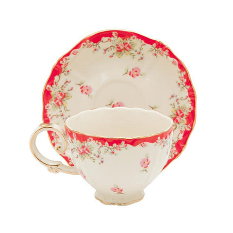 Red Rose Teacup and Saucer