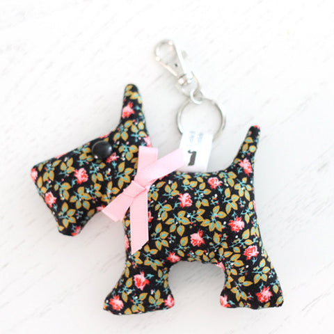 Scottie Dog Key Chain - Pink and Black Ditsy Floral