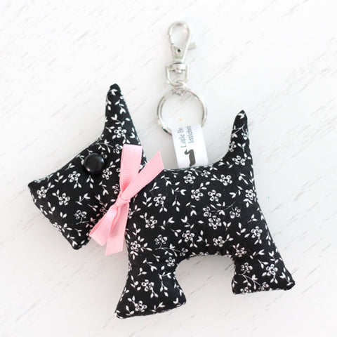 Scottie Dog Key Chain - Black and White Ditsy Floral