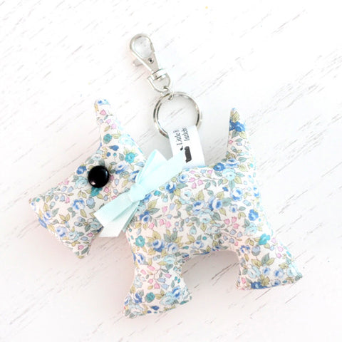 Scottie Dog Key Chain - Blue Ditsy Floral