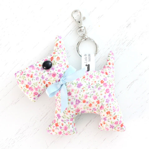 Scottie Dog Key Chain - Pink Ditsy Floral