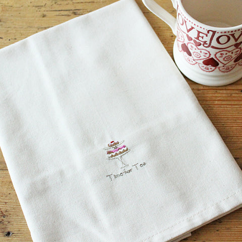 Time For Tea Embroidered Tea Towel