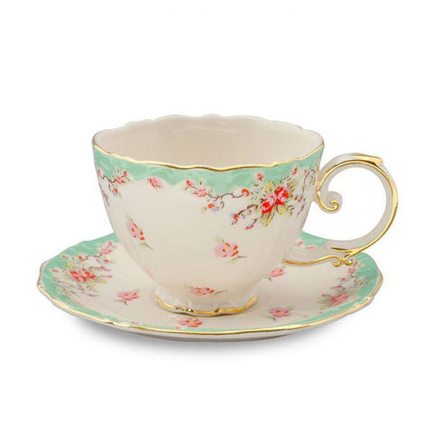 Mint Green Rose Teacup and Saucer