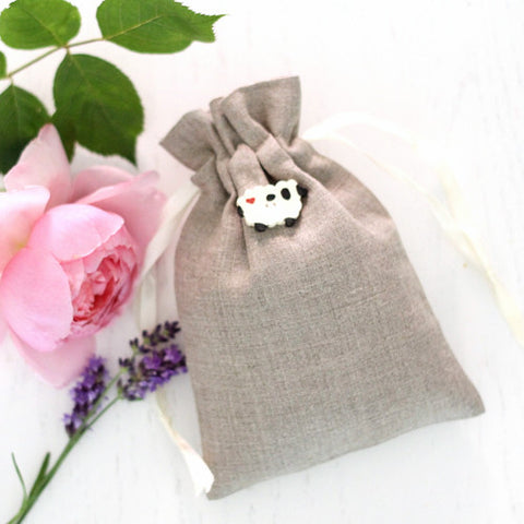 Luxury Rose and Lavender Bag in Natural Linen