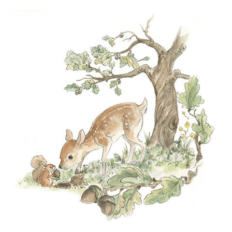 Little Deer and Squirrel Art Print