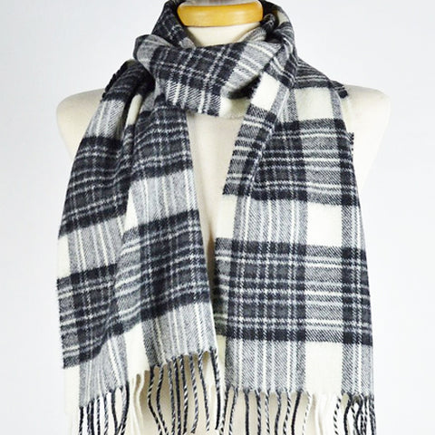 Scottish Lambswool Scarf - Stewart Dress Grey Tartan
