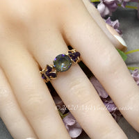 Army Green DeLite Ring, Genuine Swarovski Crystal, Handmade Ring, 14K GF US Size 7.5