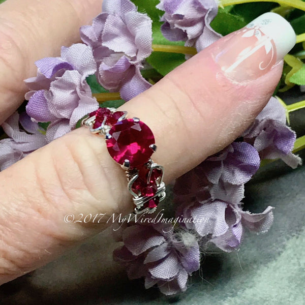 Fuchsia Red Ruby, Lab Created Stone, Handmade Ring  Sterling Silver US Size 7.5