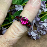 Ruby, Fuchsia Red Lab Created Stone, Handmade Ring, Made to Order