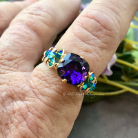 Purple Velvet & Blue Zircon, Swarovski Crystal Handmade Ring 14K GF US Size 7
