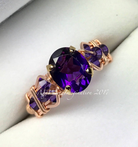 AAA Royal Amethyst Wire Wrapped Ring, February Birthstone Ring