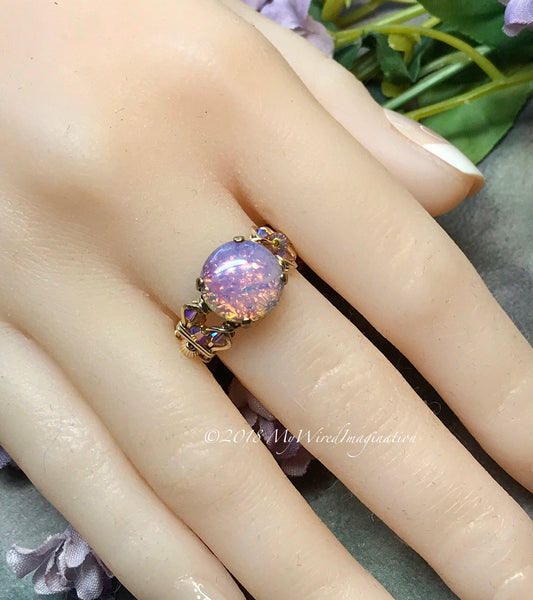 Pink Fire Opal Handmade Ring, Vintage 1950s West German Fire Opal