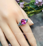 Hot Pink Sapphire and Blue Crystal Pearl Handmade Ring
