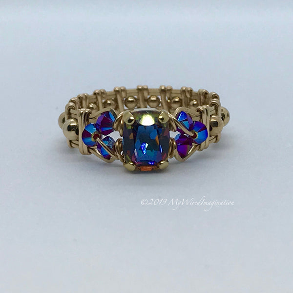 Vitrail Dark, Vintage Swarovski Crystal, Handmade Ring in 14k GF or Sterling Silver