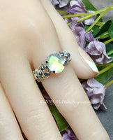 Rainbow Quartz Doublet, Handmade Ring, Rainbow Moonstone Ring, Made to Order