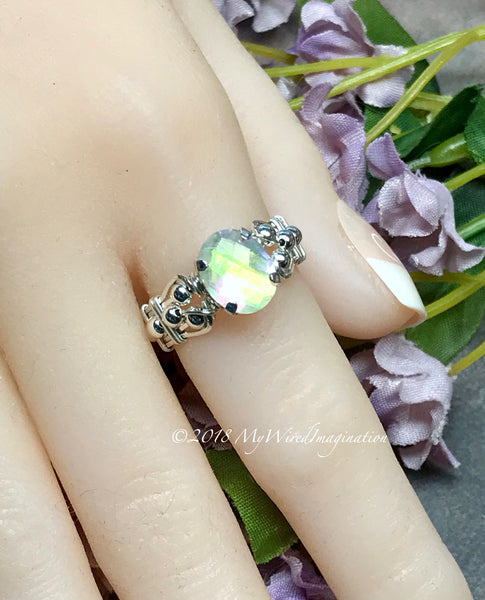 Rainbow Quartz Doublet, Handmade Ring, Rainbow Moonstone Ring