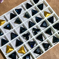 Dark Montana Sapphire - 2 Pcs, Rare Swarovski Crystal 8mm Triangle Art 4722, with Setting