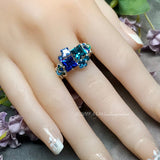 Multi-Stone Ring, Handmade in Swarovski Crystal Blues,  in Sterling US Size 8