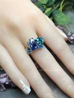 Multi-Stone Ring, Handmade in Swarovski Crystal Blues, Available in SS or 14K GF