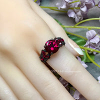 Sterling Silver, Lab Created Ruby Handmade Ring, July Birthstone US Size 7
